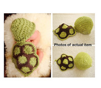 Boy Summer Crochet Hats Wholesale 1pc Cute Turtle Newborn Baby Boy Girl Crochet Aminal Beanie Hat Costume Set Photo Photography Prop For 0-6 Months Free Shipping