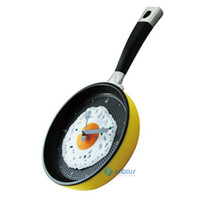 Wholesale HOT Creative Wall Clock Fried Eggs Pan Shaped Wall Clock Colors