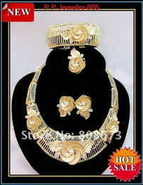 Top Quality Gold Plated Big Flower Jewelry Set Wedding Bridal Elegant Gold Plated Jewelry Set 005