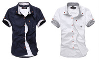 Wholesale 2013 Hot Sale New Men s Shirt Button Down Short Sleeve Shirts Size S M L XL XXL XL