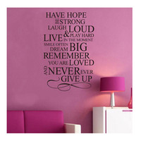 Wholesale S5Q Have Hope Never Give Up Quote Vinyl Decal Removable Wall Home Decor Art Sticker AAABPS