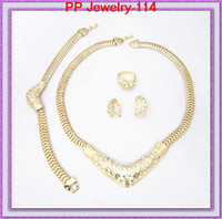Wedding Jewelry Sets Celtic Gift Gold Plated Crystal Studded Girls' Wedding Dress Necklace Jewelry Sets