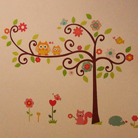 owl decor - S5Q Owl Tree Squirrel Removable Vinyl Wall Stickers Decal Art Home Decor Kid Room AAABPT