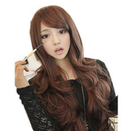 Wholesale S5Q New Sexy Fashion Womens Girls Wavy Curly Long Hair Human Full Wigs With Bang AAABOM