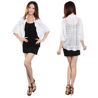 Wholesale S5Q Women Female Short Design Slim Hollow Knitted Cape Cardigan Sweater AAABON