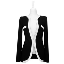 Wholesale S5Q New Korean Style Women Office Lady Contrast Color Coat Jacket Blazer Outwear AAABOO