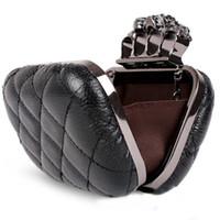 Wholesale S5Q Vintage Skull Knuckle Rings Handbag Clutch Evening Bag With shoulder Chain AAABMD