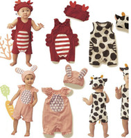 Wholesale Kids Baby animals modelling cotton short sleeve Rompers Children Rabbit Cow West cattle rompers suits with hat Lovely