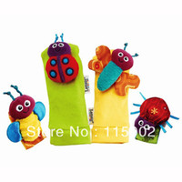 Wholesale 4PCS quot Lamaze Wrist Rattle Foot Socks Toy Set foot Finder Ladybug Bee Plush toy toddler Infant toys