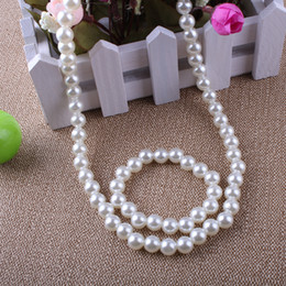 Wholesale White Pearl Necklace Bracelets Jewelry Sets Beaded Necklace MM Pearls Children Jewelry SET
