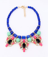 Bohemian Women's Party New European Style Gold Plated Alloy Blue Crystal Chain Green Resin Ball Clear Rhinestone Statement Luxury Bib Necklace