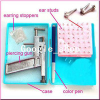 Piercing Kit ear body piercing gun - Professional Steel Ear Nose Navel Body Piercing Gun Studs Tool Kit Set