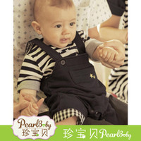 Boy Summer Short HOT SELL FOR baby clothes sets cool boy 2 pcs suit (Stripe t-shirt+overalls) summer infant garment