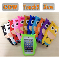 Wholesale Newest Cow Design D Silicon Case Cover for iPod Touch Touch5 Stereo Thick Soft Shockproof Back Skin Protector Multicolors DHL