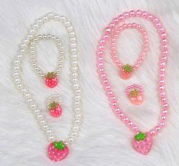 Wholesale 3 set sets baby kids children girl girls summer bead jewellery set necklace ring bracelet KT flower white pink