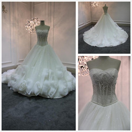 Wholesale High quality strapless wedding dresses with big train mermaid white wedding gown with handmade flower corset bodice sheer bridal dresses