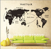 Wholesale Global World Map Atlas Vinyl Wall Art Decal Sticker Top Me AB