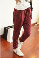 Wholesale New Spring and Summer Fashion Womens cotton side zipper casual long trousers sports loose harem pants D