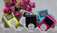Wholesale Mini Metal Clip Digital Sports MP3 USB Music Player LCD with Screen DHL sd card slot