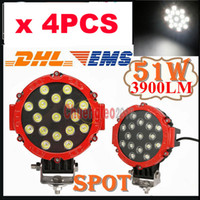 Wholesale 4pcs quot W LED Work Light LED W Off Road SUV ATV WD x4 Spot Pencil Beam V lm Driving Truck Lamp Alluminum Alloy Red Housing