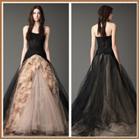 Wholesale New arrival black wedding dresses A line floor length black and champagne wedding dresses corset bodice sheer wedding gown back zipper tulle