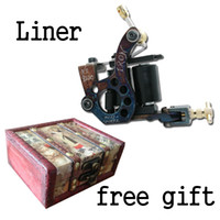 Wholesale Handmade Tattoo Machine Gun Carbon Steel Liner wooden box free gift For Tattoo Needle Ink Tips Kits