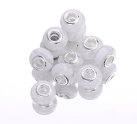 Wholesale WHITE Cat s Eye Lampwork Murano Glass Beads Fit Loose Spacer European Charms Bracelet Big Hole Silver Core PDX1