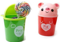 Wholesale Love Cartoon Animal Waste Box Trash Can Garbage Bin animal trash bin Office StationeryNovelty Toy Q045