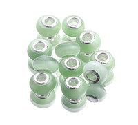Wholesale PDX11 Green Cat s Eye Lampwork Murano Glass Beads Fit Loose Spacer European Charms Bracelet Big Hole Silver Core