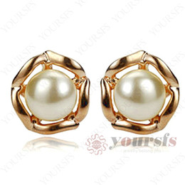 Yoursfs Precious Trendy Pearl Earrings 18 K Rose Gold Plated Jewelry Charm Pearl Stud Earrings Used Austria Crystal For Wedding Engagement