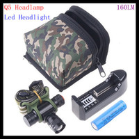 Wholesale Adjustable Focus Beam CREE Q5 LED Headlamp torch Carry Bag Charging Stand Rechargeable li battery with high quality