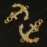 Gold plated anchor bead - Fashion Gold Metal Rhinestone Crystal Pave Anchor Beads For Handmade Bracelet Necklace Connectors Jewelry Findings JF1321