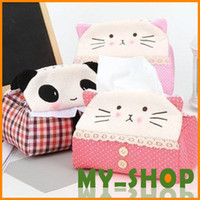 Wholesale Car Accessories Tissue Box Cute panda fabric rectangle Tissue cat tissue boxes