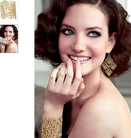Wholesale 2013 New Fashion Chantilly Lace Flower Chandelier Earring Gold Black Color Women Jewelry Pairs