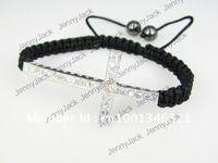 Unisex sideways cross bracelet - CROSS Promotion Rhinestones Honesty Crystal Beads Sideways Cross Shamballa Bracelet with Macrame