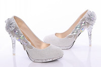 Rhinestone High Heel Pointed Toe In Stock Silvery Wedding Shoes Size 34-39 10cm High Heels With Seuqins Crystals Embroidery For Wedding Prom Bridesmaid Party Evening Dresses