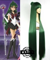 Wholesale Anime Sailor Moon Sailor Pluto Meiou Setsuna Straight Green Cosplay Wig Free gift