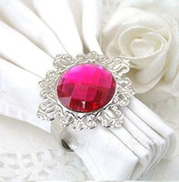 Wholesale Lowest Price Fuchsia Gemstone Vintage Style Napkin Rings Wedding Bridal Shower Napkin holder