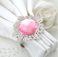 Wholesale Lowest Price Light Pink Gemstone Vintage Style Napkin Rings Wedding Bridal Shower Napkin holder
