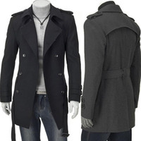 Wholesale New Fashion Slim Fit Men Casual Trench Coat Mens Long Winter Coats Mens Man Wool UK Style Outwear Overcoat M L XL XXL Black Grey