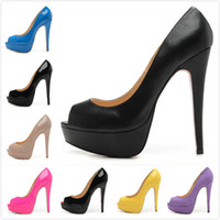 Wholesale New women s sexy designer peep toes cm high heels wedding shoes designer brand platform pumps shoes