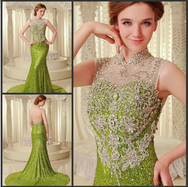 Wholesale 2015 new green ultimate luxury crystal bridal for Green lace wedding dress