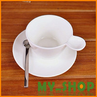 Wholesale Simple Coffee Mugs with Spoon amp Desk Saucer Pieces sets Ceramic White Cup