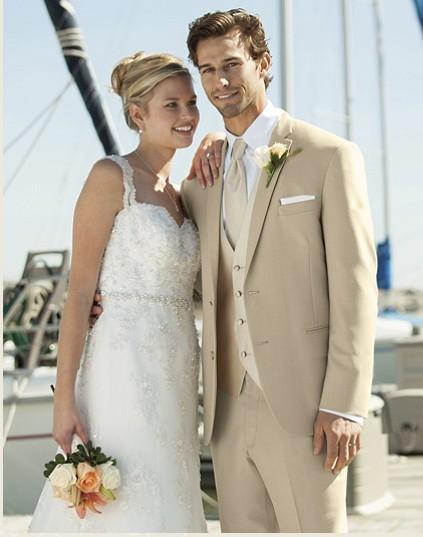 Custom Made Beige Groom Tuxedos Groomsmen Men Wedding Suits Best ...