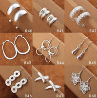 Wholesale Fashion Ladies Eardrop Jewelry Paris Hot Sale Silver Charms Dangle Earrings Jewelry Mix Style Free