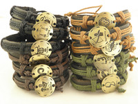 Wholesale The Newest Twelve constellation Handmade Leather wrist Bracelet Mens Womens In Stock
