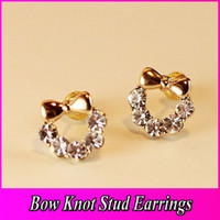 Wholesale Butterfly Knot Korea Cute Lady Fine Sparkling Diamond Stud Earrings Charm Earrings Cheap Jewelry PARS ET001