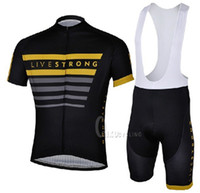 Wholesale Cycling Clothing New Livestrong Team Cycling Jerseys Short Sleeve and Cycling Bib Shorts Suit Outdoor Bike Clothing Summer Cycling Wear