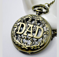 Wholesale WA004 Father s Day Gift Bronze Quartz Pocket Watch hot sale necklace with Chain