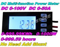 Wholesale DC LCD Digital Voltage Current Meter multifunction power meter monitor watt energy KWh meter time Voltmeter Ammeter